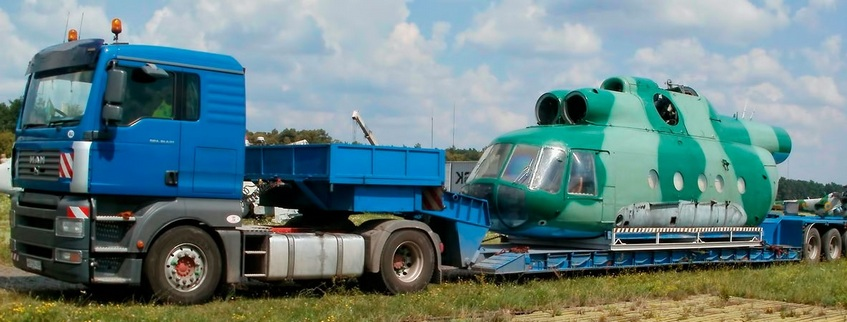 Перевозка вертолета тралом
